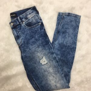 Express Distressed Acid Wash Skinny Jegging Jean